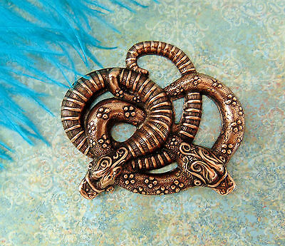 ANTIQUE COPPER Entwined SNAKES Serpent Stamping ~ Jewelry Finding (FB-6085)