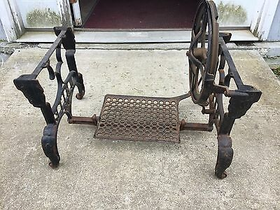 1 Old White Short Cast Iron Treadle Sewing Machine Industrial End Table Leg Base