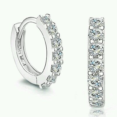 925 Sterling Silver Hoop Jewelry Gemstones Crystal White Earrings Ladies Girl UK
