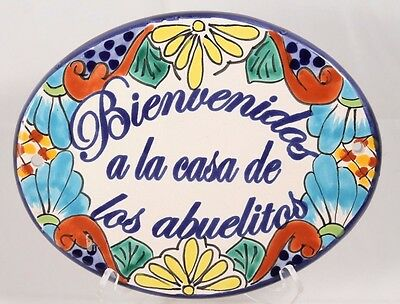 Mexican Hanging Ceramic Oval Tile Handcrafted/ Painted Pottery Spanish Welcome