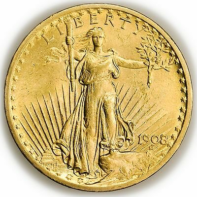 1908 $20 Gold St Gaudens Double Eagle, No Motto, Uncirculated Coin [3063.24]