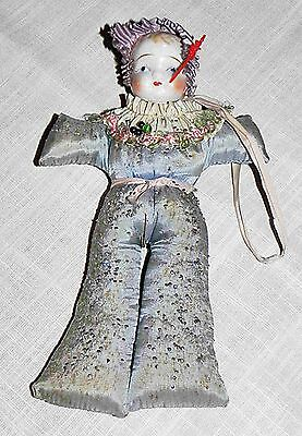 Antique 19th C Victorian Hand Painted Porcelain Head Pin Cushion Doll Estate