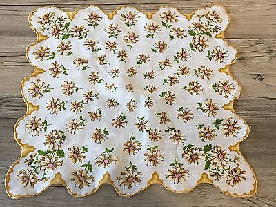 """Vintage Gold and Pink Floral Hanky Handkerchief 12"""" ~ Scalloped Edge"""