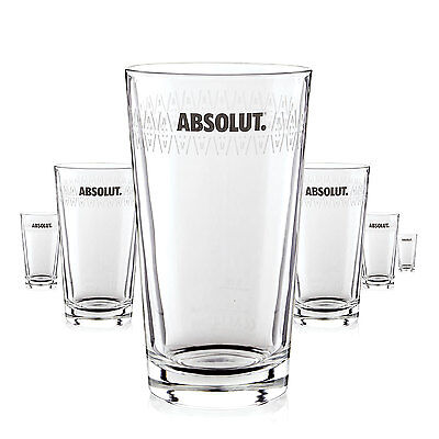 6 x Absolut Vodka Glas / Gläser Longdrink Design Cocktail Gastro Bar Deko NEU