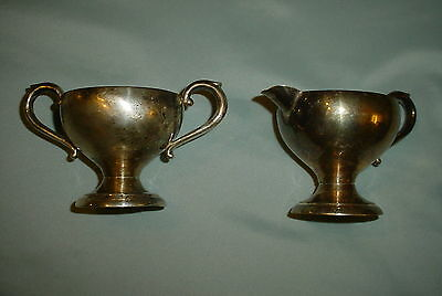 preisner silver co.solid sterling silver creamer and sugar bowl--unweighted