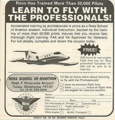 1974 Ross School Of Aviation Vintage B&W Photo Print Ad
