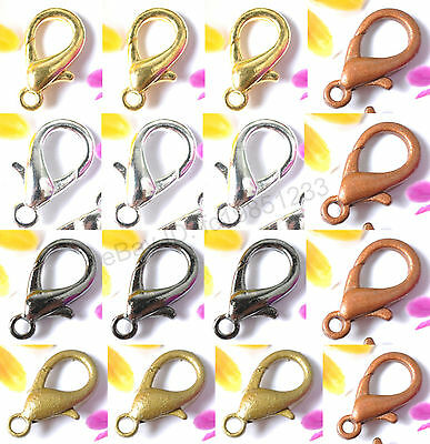 Wholesale Silver Gold Copper Plated Lobster Clasps Hooks Choose 10MM 12MM 14MM