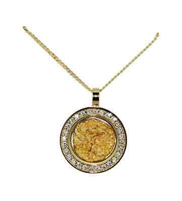 Gold & Glass Dia Round Necklace