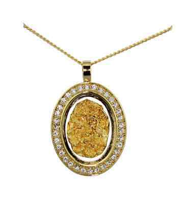 Gold & Glass Dia Oval Necklace