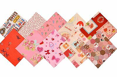 """Quilting fabric 40 Charm Pack 5x5"""" Retro Child Floral Animal Cooking Red Pink"""