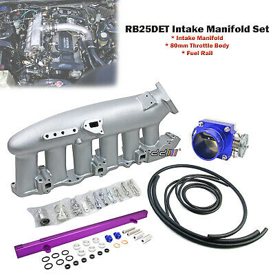 Intake Manifold & Fuel Rail & 80mm Throttle Body For Nissan R32 R33 RB25DET
