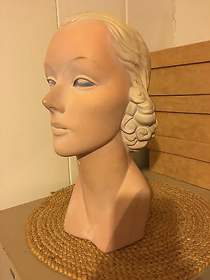 Vintg 1930's-1940's Woman's MANNEQUIN HEAD ~ Store Hat/Jewelry DISPLAY~14""