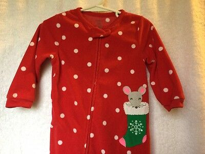 Carter's Red w/white Polka Dot Christmas Fleece Footed Pajamas - 18 Months