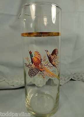 Pheasant Bird Vintage Glass Carafe Pitcher Juice