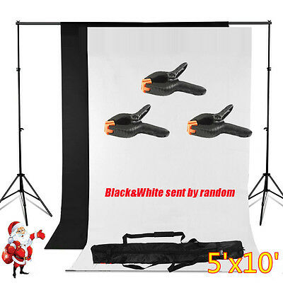 5' x 10' Photography Backdrop Stand Background Photo Kit Muslin Black/White USA