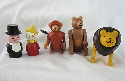 Vintage Fisher Price #135 Little People Circus - Wooden Body Figures, Animals