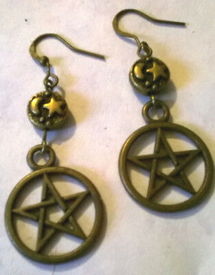 Pentacle in Bronze with Moon and Star Goddess Earrings on French Hooks