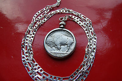 "1936 Americana Buffalo Nickel Pendant on a  30"" 925 Sterling Silver Chain"