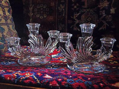 Vintage Antique Art Nouveau Deco Triple Candelabra Candlesticks Holders Glass