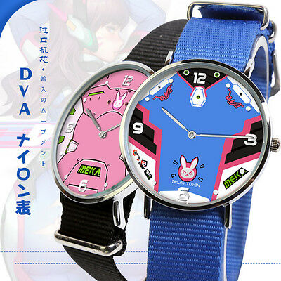 Hot Overwatch D.VA Quartz Wrist Watch Cute Waterproof Watch Nylon cosplay Blue