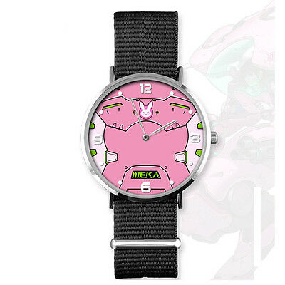 New Overwatch D.VA Quartz Wrist Watch Cute Waterproof Watch cosplay Pink Nylon