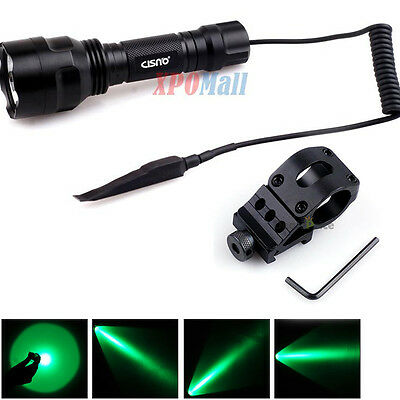 Green Cree LED Light Tactical Flashlight with Rail Mount Remote for Hunting