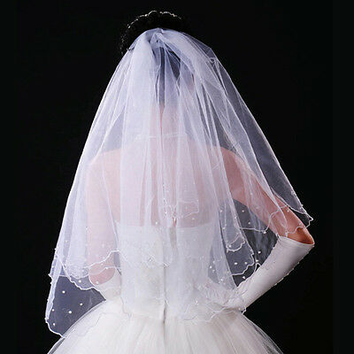 New 80cm Double Layer Pearls Beaded Wedding Bridal Veil Mantilla w/Comb(White)