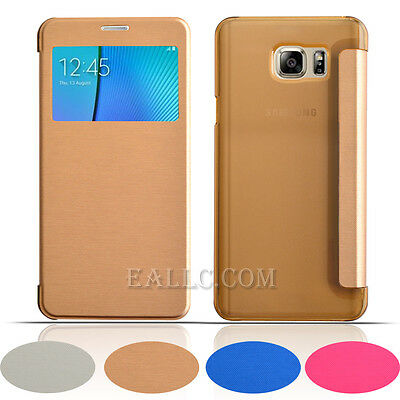 Ultra Slim Super Thin View Flip Matte Back Case Cover for Samsung Galaxy note 5