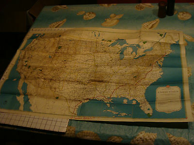 1941 map of US from AAA, super cool black and red style, USED
