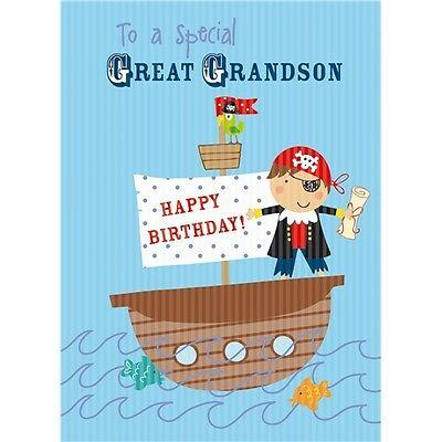 To a Special Great Grandson card Blue foil detail Pirate Boat Parrot