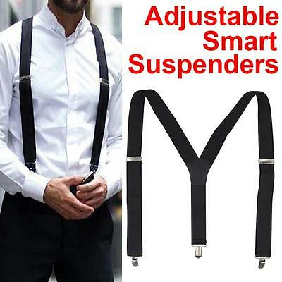 New 35mm Mens Men Braces Plain Black Suspenders Wide & Heavy Duty  Adjustable