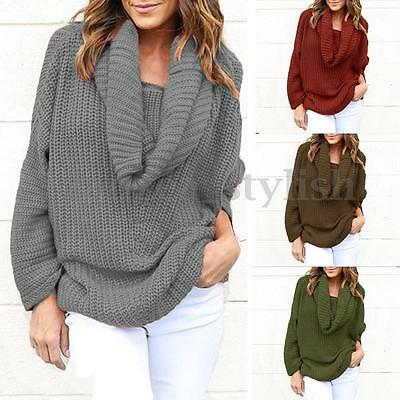 Women Winter Warn Cowl Neck Knit Sweater Casual Loose Top Jumper Pullover Blouse