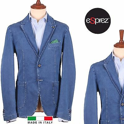 Giacca Uomo In Denim Blazer Jeans Sportiva Casual Moda Estate Slim Fit Esprez