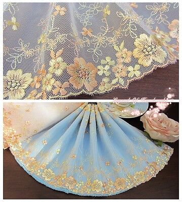 """8""""*1Y Embroidered Tulle Lace Trim~White+Yellow+Peach~Beautiful Bloomy Daisy~"""