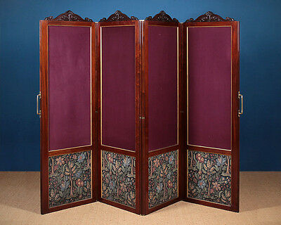 Antique 19th.c. Four Panel Folding Screen c.1890.