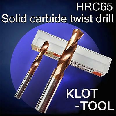 KLOT HRC65 TiN Coated Solid Carbide Drill Bit 1.0mm-5.0mm 2-Flute CNC Tungsten