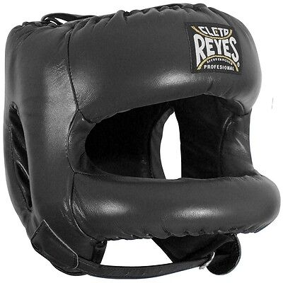 FREE Cleto Reyes Headgear Head Guard with Nylon Face Bar Black Boxing Sparring