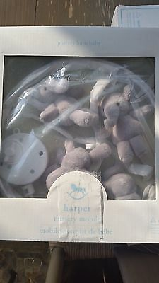 Pottery Barn Kids Musical Harper Elephant  Mobile With White Arm New Nursery Set