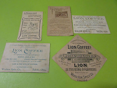Lot Of 5 Lion Coffee Advertising  Woolson Spice Co.