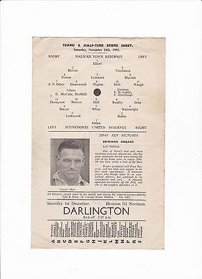 1951/52 HALIFAX TOWN Res v SCUNTHORPE UNITED Reserves (Single Sheet)
