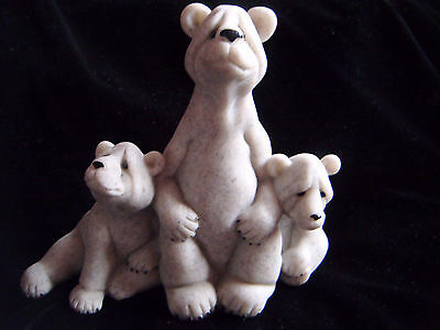 Lovely carved stone Polar bears ornament - Quarry Critters, Billy & Friends