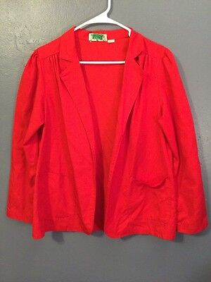 Vintage 70s Basic Red Blazer Pleated Shoulders Open Front Pockets M/L