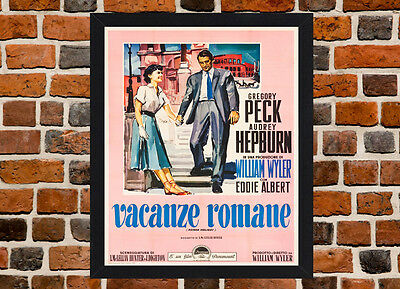 Framed Roman Holiday Italian Movie Poster A4 / A3 Size In Black / White Frame