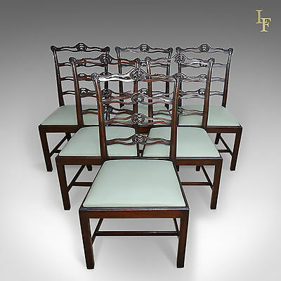 Antique Dining Chairs, Set Of 6, Six, Victorian, Mahogany, Chippendale Revival