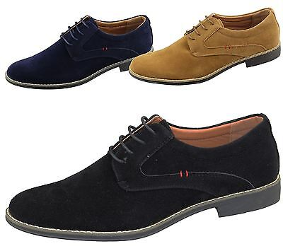 Mens Lace Up Formal Shoes Office Wedding Casual Flat Smart Suede Dress Shoes