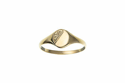 9ct Yellow Gold Child's Half Engraved Oval Signet Ring - Made in UK *RRP £43.99*