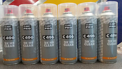 6 x HB Body 496 Aerosol 400ml Professional 2K Car Lacquer Clearcoat Fast Drying