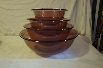 Pyrex Clear Bottom Nesting Mixing Bowls , Pink 322,323,325,326