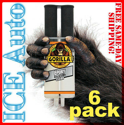 6 PACK - GORILLA GLUE 4200102 Gorilla EPOXY Syringe .85 fl oz -25 ml TOUGH CLEAR
