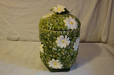 Inarco Green And White Daisy Daisies Cookie Jar